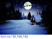 Christmas house under full moon. Стоковое фото, агентство Wavebreak Media / Фотобанк Лори