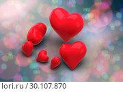 Купить «Composite image of love hearts», фото № 30107870, снято 20 января 2015 г. (c) Wavebreak Media / Фотобанк Лори