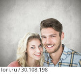 Купить «Composite image of attractive young couple smiling at camera», фото № 30108198, снято 21 января 2015 г. (c) Wavebreak Media / Фотобанк Лори