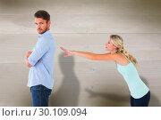 Composite image of desperate blonde reaching for boyfriend. Стоковое фото, агентство Wavebreak Media / Фотобанк Лори