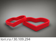Купить «Composite image of linking hearts», фото № 30109294, снято 21 января 2015 г. (c) Wavebreak Media / Фотобанк Лори