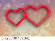 Купить «Composite image of linking hearts», фото № 30109342, снято 21 января 2015 г. (c) Wavebreak Media / Фотобанк Лори