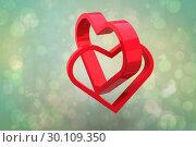 Купить «Composite image of linking hearts», фото № 30109350, снято 21 января 2015 г. (c) Wavebreak Media / Фотобанк Лори