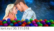 Купить «Composite image of attractive couple smiling at each other», фото № 30111018, снято 23 января 2015 г. (c) Wavebreak Media / Фотобанк Лори