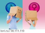 Купить «Composite image of couple wearing emoticon face boxes on their heads», фото № 30111110, снято 23 января 2015 г. (c) Wavebreak Media / Фотобанк Лори