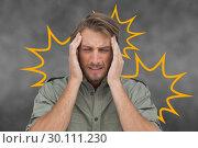 Composite image of man with headache. Стоковое фото, агентство Wavebreak Media / Фотобанк Лори