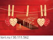 Купить «Composite image of valentines day greeting», фото № 30111562, снято 23 января 2015 г. (c) Wavebreak Media / Фотобанк Лори