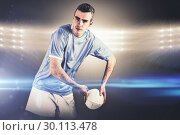 Купить «Composite image of rugby player about to throw a rugby ball», фото № 30113478, снято 17 сентября 2015 г. (c) Wavebreak Media / Фотобанк Лори