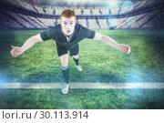 Купить «Composite image of rugby player tackling the opponent», фото № 30113914, снято 17 сентября 2015 г. (c) Wavebreak Media / Фотобанк Лори