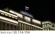 Купить «Main Building of the Ministry of Defence of the Russian Federation (Minoboron), at night-- is the governing body of the Russian Armed Forces. Moscow, Russia», видеоролик № 30114154, снято 20 февраля 2019 г. (c) Владимир Журавлев / Фотобанк Лори