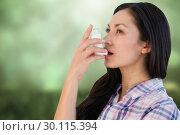 Купить «Composite image of portrait of an asthmatic woman », фото № 30115394, снято 27 апреля 2016 г. (c) Wavebreak Media / Фотобанк Лори