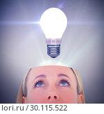 Купить «Composite image of close up of blonde woman looking up», фото № 30115522, снято 27 апреля 2016 г. (c) Wavebreak Media / Фотобанк Лори
