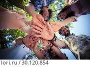 Купить «Friends forming a handstack in park», фото № 30120854, снято 20 июля 2016 г. (c) Wavebreak Media / Фотобанк Лори