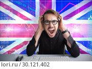 Купить «Composite image of businessman yelling with his hands on face », фото № 30121402, снято 15 сентября 2016 г. (c) Wavebreak Media / Фотобанк Лори