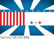 American flag against sunburst. Стоковое фото, агентство Wavebreak Media / Фотобанк Лори