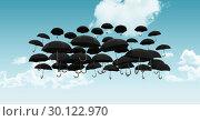 Купить «Black umbrella in sky», фото № 30122970, снято 23 ноября 2016 г. (c) Wavebreak Media / Фотобанк Лори