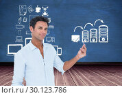 Купить «Man holding a chalk against computer server systems concept in background», фото № 30123786, снято 1 декабря 2016 г. (c) Wavebreak Media / Фотобанк Лори