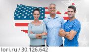 Купить «Young man and woman with senior man standing against American flag», фото № 30126642, снято 23 декабря 2016 г. (c) Wavebreak Media / Фотобанк Лори