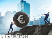 Купить «Trader trading in euro currency», фото № 30127386, снято 21 июля 2019 г. (c) Elnur / Фотобанк Лори