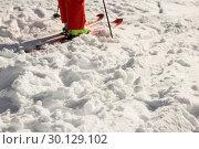 Купить «Low section of skier on snowy mountains», фото № 30129102, снято 18 ноября 2016 г. (c) Wavebreak Media / Фотобанк Лори