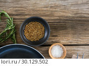 Купить «Coriander seeds, salt and rosemary herbs», фото № 30129502, снято 20 сентября 2016 г. (c) Wavebreak Media / Фотобанк Лори