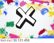 Купить «Cross with multi colored paint stroke», фото № 30131458, снято 25 января 2017 г. (c) Wavebreak Media / Фотобанк Лори
