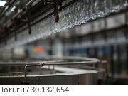 Купить «Empty bottles moving on production line in factory», фото № 30132654, снято 20 октября 2016 г. (c) Wavebreak Media / Фотобанк Лори