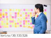 Купить «Young handsome employee with many conflicting priorities», фото № 30133526, снято 16 октября 2018 г. (c) Elnur / Фотобанк Лори