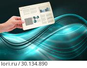 Купить «Composite image of Hand holding Statistics charts against blue curves on dark background», фото № 30134890, снято 6 февраля 2017 г. (c) Wavebreak Media / Фотобанк Лори