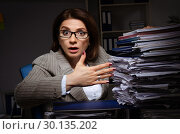 Купить «Female employee suffering from excessive work», фото № 30135202, снято 14 ноября 2018 г. (c) Elnur / Фотобанк Лори
