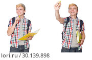 Купить «Student with backpack and notes isolated on white», фото № 30139898, снято 22 ноября 2019 г. (c) Elnur / Фотобанк Лори