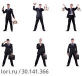 Купить «Businessman with money sacks, briefcase and handgun», фото № 30141366, снято 20 марта 2019 г. (c) Elnur / Фотобанк Лори