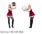 Купить «Woman in bavarian costume isolated on white», фото № 30141902, снято 21 января 2013 г. (c) Elnur / Фотобанк Лори