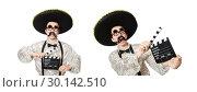 Купить «Funny mexican with movie board», фото № 30142510, снято 22 апреля 2014 г. (c) Elnur / Фотобанк Лори