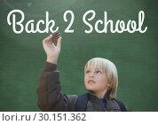 Купить «Back 2 school text on blackboard with boy studying nature», фото № 30151362, снято 24 июля 2017 г. (c) Wavebreak Media / Фотобанк Лори