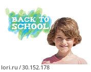 Купить «Back to School text with boy», фото № 30152178, снято 24 июля 2017 г. (c) Wavebreak Media / Фотобанк Лори