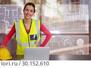 Купить «Composite image of portrait of female architect wearing reflective clothing», фото № 30152610, снято 18 августа 2017 г. (c) Wavebreak Media / Фотобанк Лори