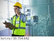 Купить «Composite image of constraction worker on the phone», фото № 30154642, снято 23 апреля 2018 г. (c) Wavebreak Media / Фотобанк Лори