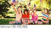 Купить «Composite image of children holding american flag», фото № 30155562, снято 18 ноября 2018 г. (c) Wavebreak Media / Фотобанк Лори