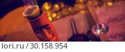 Купить «Close up of bar accessories with moai mug», фото № 30158954, снято 4 января 2019 г. (c) Wavebreak Media / Фотобанк Лори