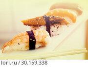 series of four kinds Nigirisushi. Стоковое фото, фотограф Татьяна Яцевич / Фотобанк Лори
