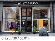 Купить «Helsinki, Finland, shop front of Marimekko in a pedestrian zone», фото № 30160014, снято 24 июня 2018 г. (c) Caro Photoagency / Фотобанк Лори