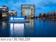 Купить «ThyssenKrupp Headquarters, Essen, Ruhr Area, North Rhine-Westphalia, Germany, Europe», фото № 30160250, снято 9 января 2019 г. (c) Caro Photoagency / Фотобанк Лори