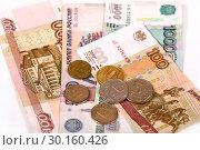 Купить «Российские купюры и монеты», эксклюзивное фото № 30160426, снято 19 февраля 2019 г. (c) Юрий Морозов / Фотобанк Лори