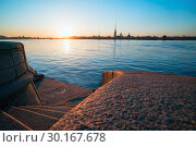 Купить «Descent to the Neva granite steps, View of the Peter and Paul fortress, St. Petersburg.», фото № 30167678, снято 14 апреля 2018 г. (c) Алексей Маринченко / Фотобанк Лори