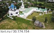 Купить «Aerial view of Suzdal Kremlin with Cathedral of Nativity, oldest part of medieval Russian city of Suzdal», видеоролик № 30174154, снято 29 июня 2018 г. (c) Яков Филимонов / Фотобанк Лори