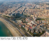 Купить «Aerial view of the Mediterranean coast of Tarragona. Spain», фото № 30175470, снято 17 января 2019 г. (c) Яков Филимонов / Фотобанк Лори