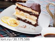 Купить «Slice of chocolate lemon cake», фото № 30175586, снято 18 марта 2019 г. (c) Яков Филимонов / Фотобанк Лори