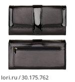 Купить «Women's black wallet isolated on white», фото № 30175762, снято 8 ноября 2014 г. (c) Людмила Дутко / Фотобанк Лори