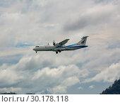 Купить «ATR 72-600 flies in the sky», фото № 30178118, снято 27 ноября 2016 г. (c) Игорь Жоров / Фотобанк Лори